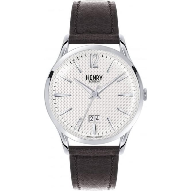 Henry London Edgware Jumbo Date Leather Strap Watch