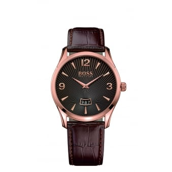 Hugo Boss Commander Men's Rose Gold Plated Leather Strap Watch