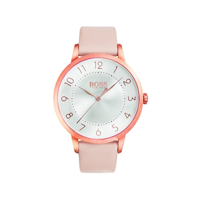 Hugo Boss Eclipse Rose Gold Plated Leather Strap Ladies Watch
