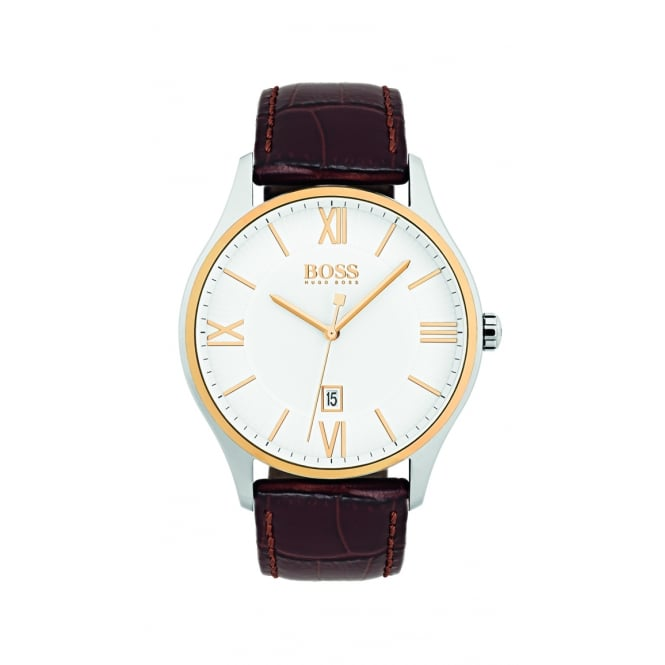 Hugo Boss Governor Two Tone Leather Strap Mens Watch