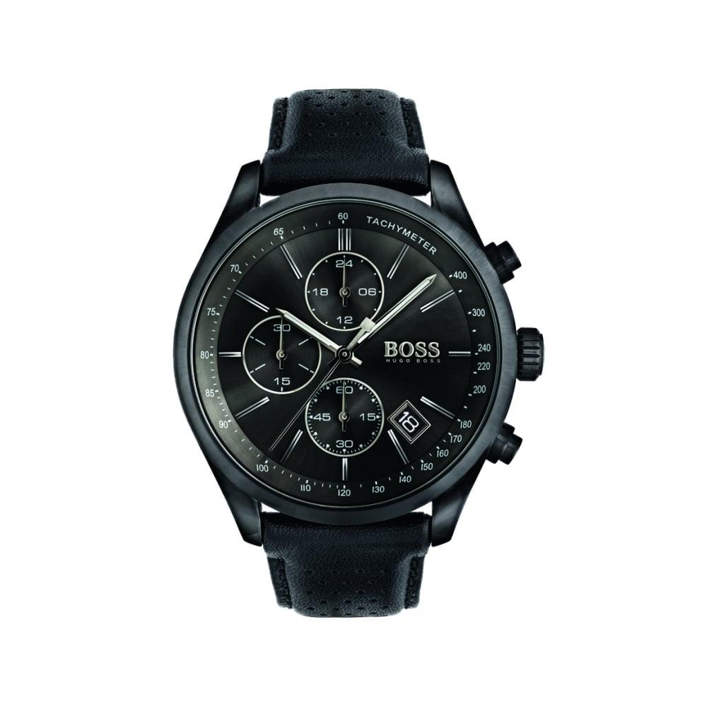 24116e16af131 Hugo Boss Grand Prix Men s Black Steel Chronograph Watch
