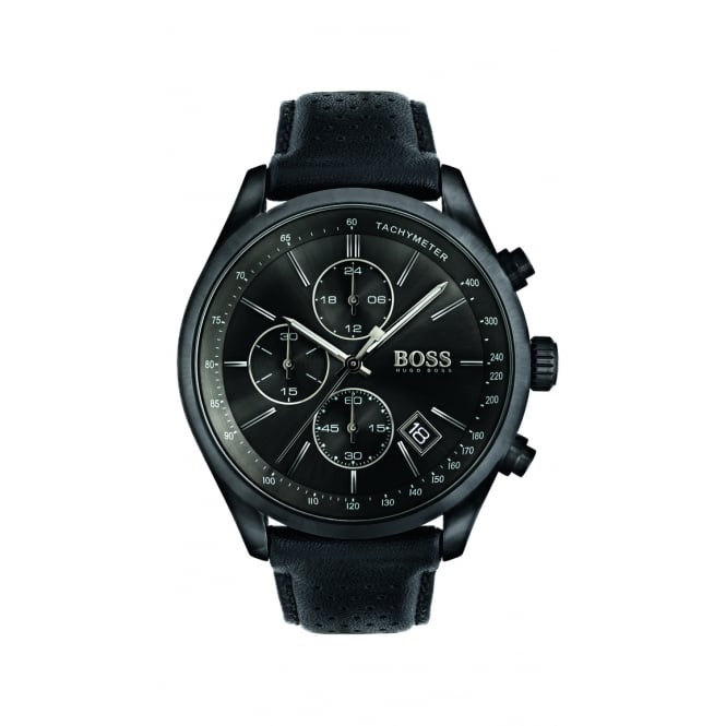 Hugo Boss Grand Prix Men's Black Steel Chronograph Watch