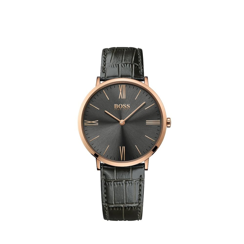 Boss Watches Hugo Boss Jackson Rose Gold Plated Mens Leather Strap Watch