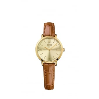 Hugo Boss Jillian Ladies Gold Plated Leather Strap Watch