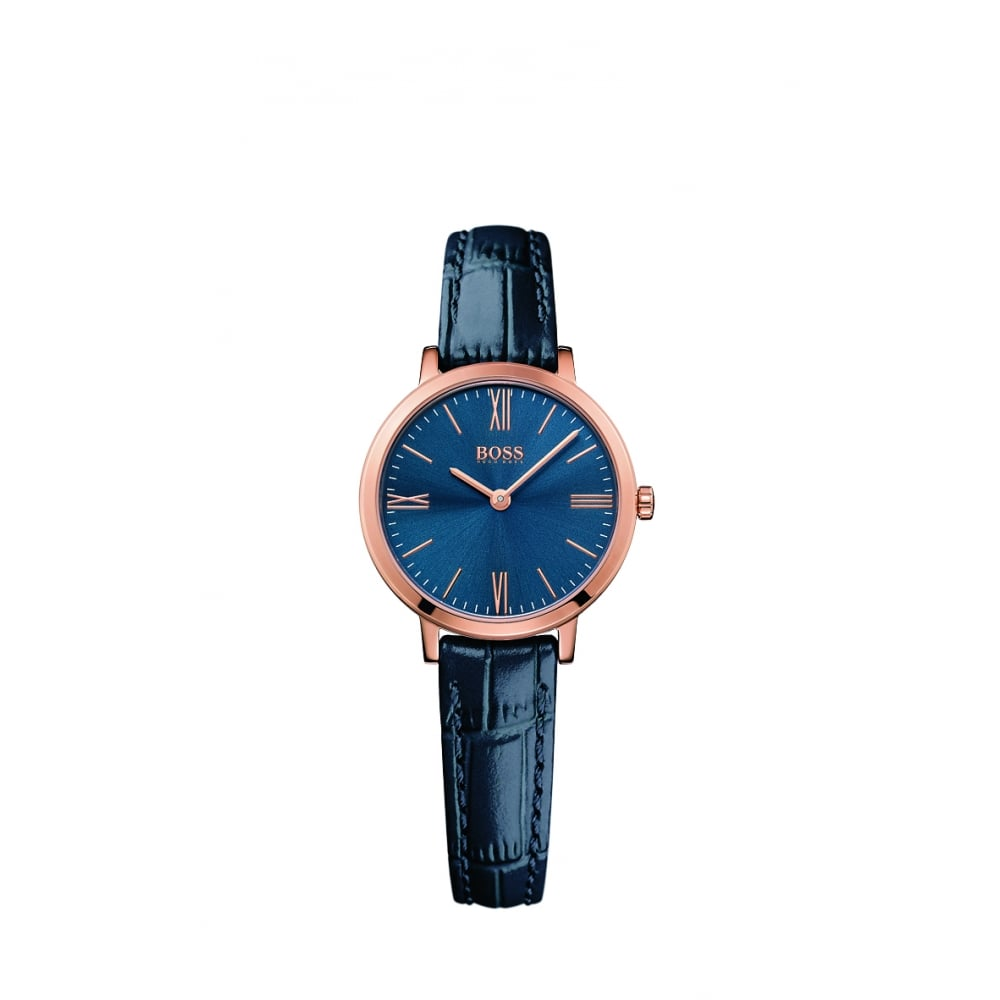 21615b231 Hugo Boss Jillian Ladies Rose Gold Plated Leather Strap Watch