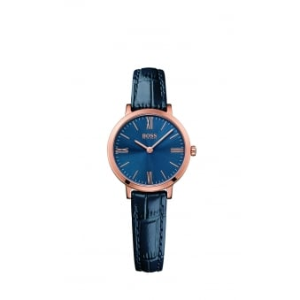 Hugo Boss Jillian Ladies Rose Gold Plated Leather Strap Watch