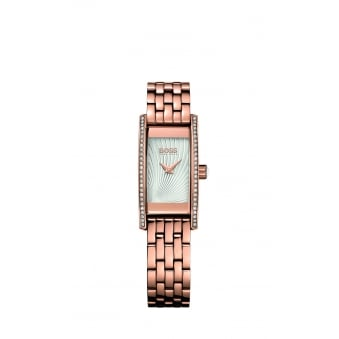 Hugo Boss Ladies Cocktail Rose Gold Plated Crystal Watch