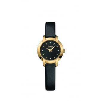 Hugo Boss Ladies Success Gold Plated Leather Strap Watch