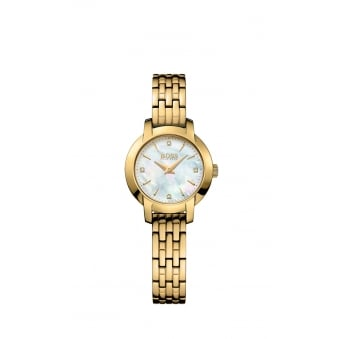 Hugo Boss Ladies Success Gold Plated Mother of Pearl Watch