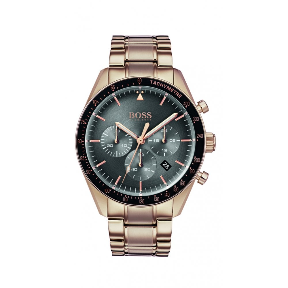 Hugo Boss Trophy Rose Gold Mens Chronograph Watch Watches From