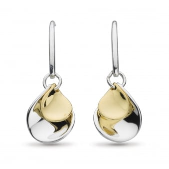 Kit Heath Blossom Double Petal Gold Plate Drop Earrings