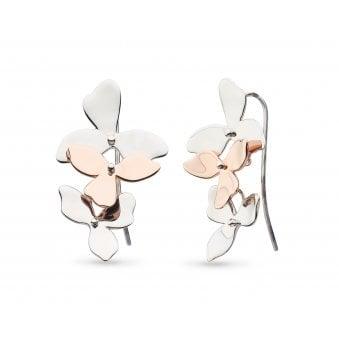 e61b97032 Kit Heath Blossom Petal Bloom Silver & Rose Trio Drop Earrings