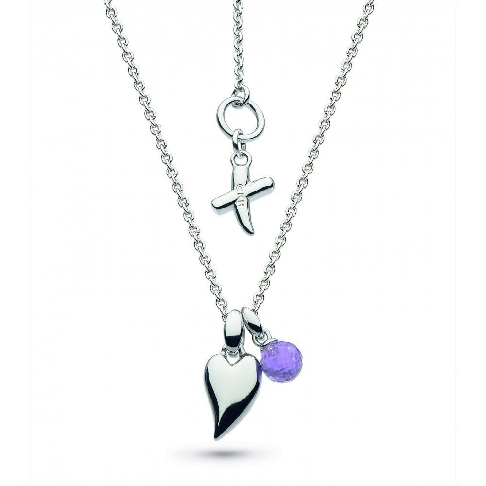 Kit Heath Kit Heath Desire Kiss Crush Mini Heart Amethyst Drop Necklace