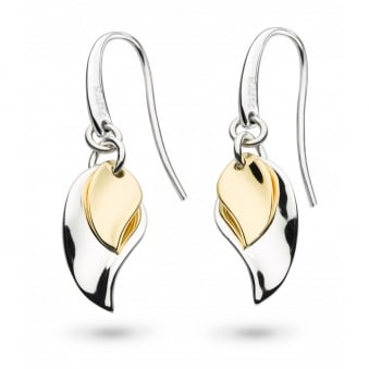 Kit Heath Enchanted Double Leaf Gold Plated Drop Earrings