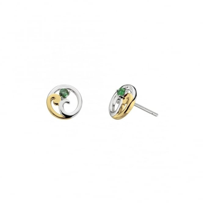Kit Heath Luna Shine Green Tourmaline with Gold Stud Earrings