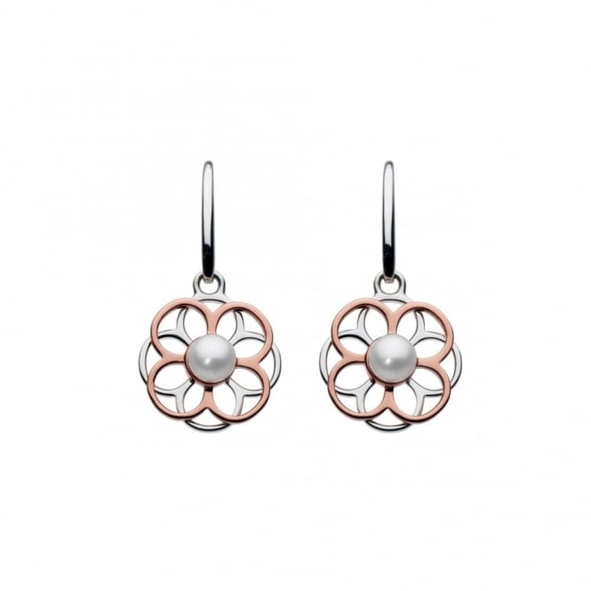 Kit Heath Madeleine Pearl Lace Drop Earrings - Rose Gold Plated