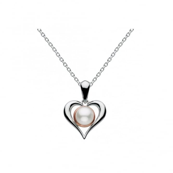 Kit Heath Rose Gold Plated & Pearl Amelia Heart Necklace
