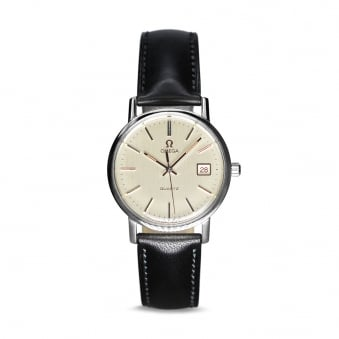 Omega Steel Mens Quartz Watch with Leather Strap Cal.1342