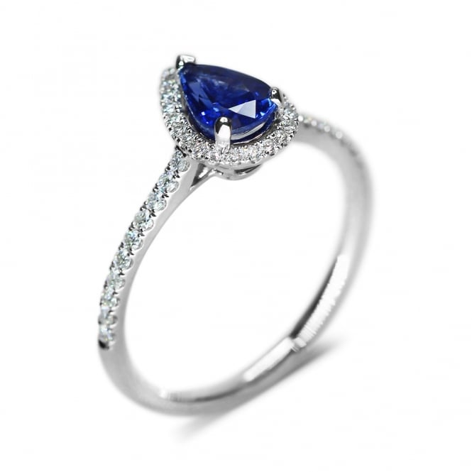 Platinum 0.89ct Pear Shape Sapphire & Diamond Halo Style Ring