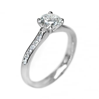 Platinum Diamond Solitaire 1.00ct Ring with 0.21ct Diamond Shoulders