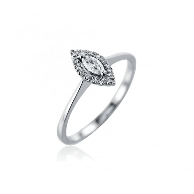Platinum Diamond Solitaire Halo Ring, 0.16ct