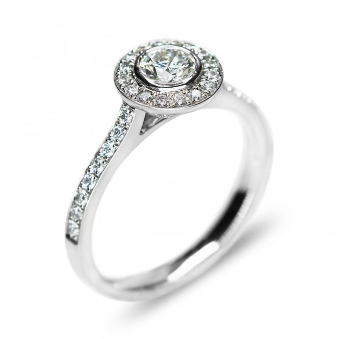 Platinum Diamond Solitaire Halo Ring with Diamond Shoulders
