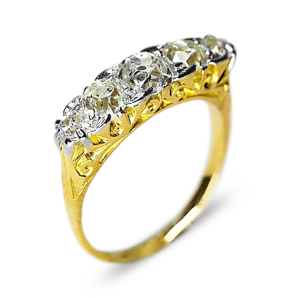 Pre 1920 S 18ct Yellow Gold Old Cut Diamond Carved Head 5
