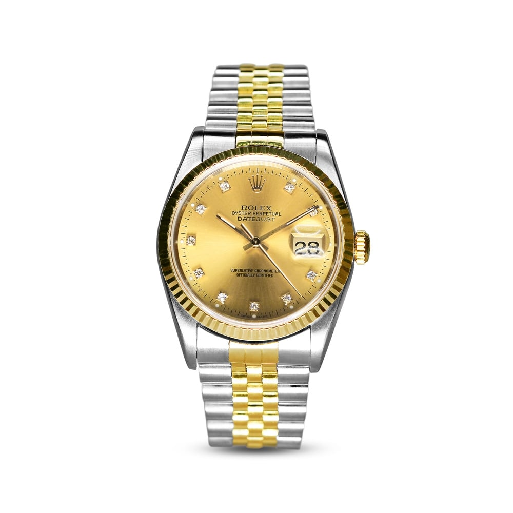 7cb324bbac5 Rolex Oyster Perpetual Steel & Gold Datejust Diamond Dial 16233