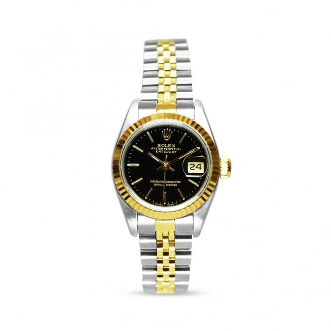 Preowned Rolex Bimetal Ladies Datejust 69173 Black Dial