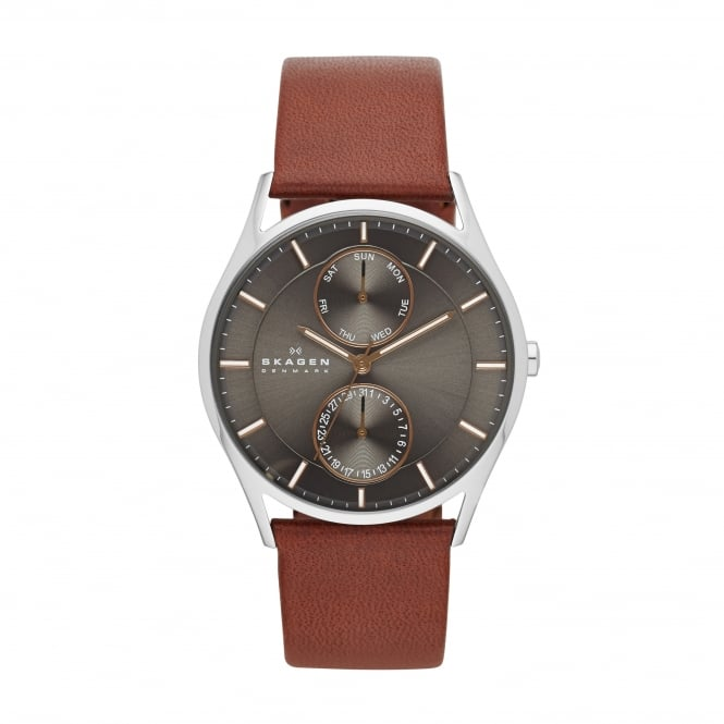 Skagen Holst Mens Brown Leather Strap Watch