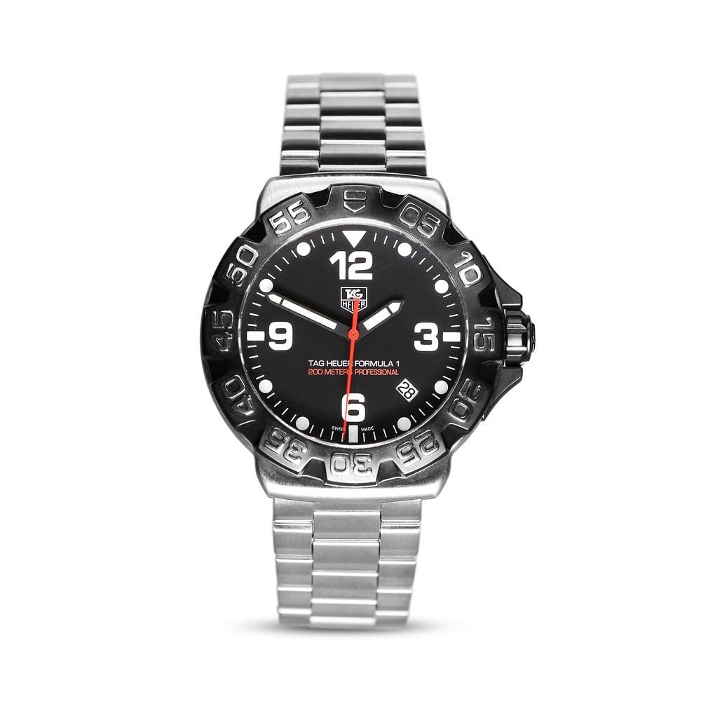 Tag Formula 1 Watch >> Formula 1 Black Bezel Mens Steel Watch Wah1110