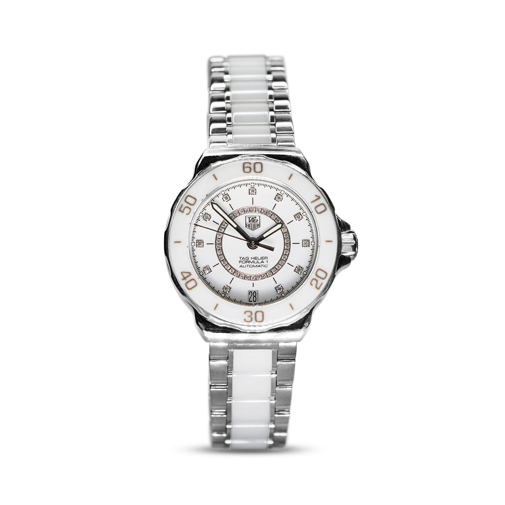 45e389b24 Tag Heuer Formula 1 Steel & Ceramic Ladies Diamond Set Watch WAU2211